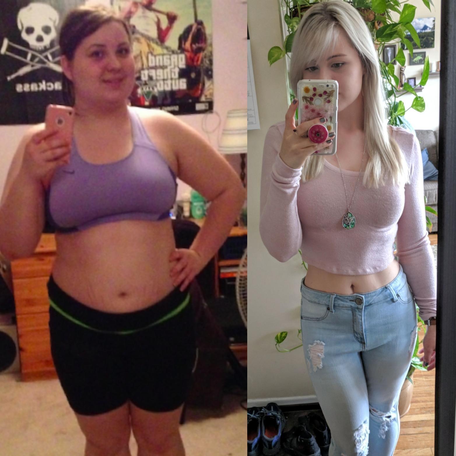 86 lbs Fat Loss 5'4 Female 220 lbs to 134 lbs