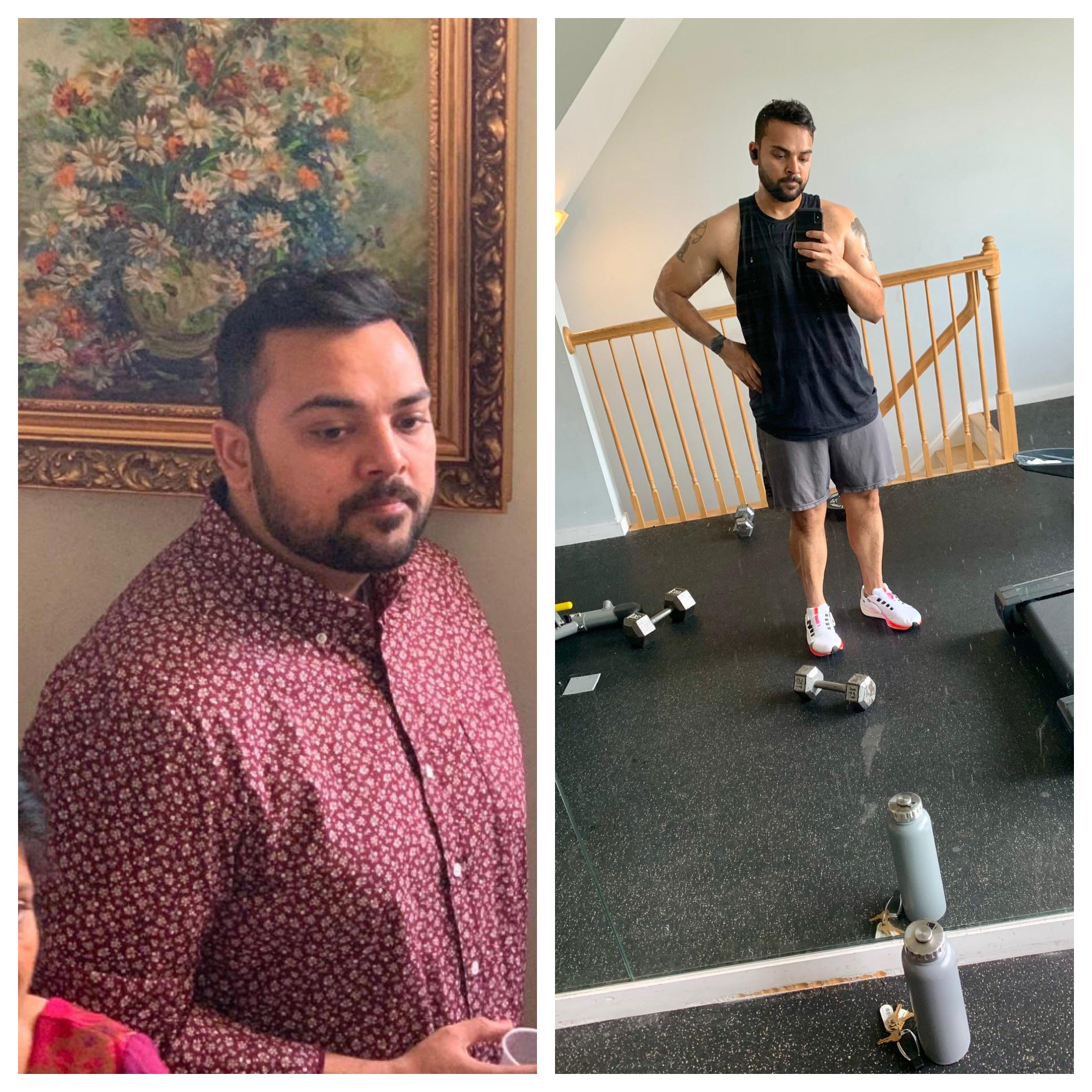 36 lbs Weight Loss Before and After 5 foot 8 Male 230 lbs to 194 lbs