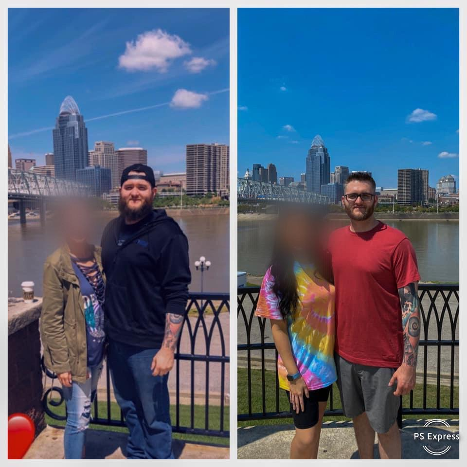 40 lbs Fat Loss Before and After 6 feet 3 Male 260 lbs to 220 lbs