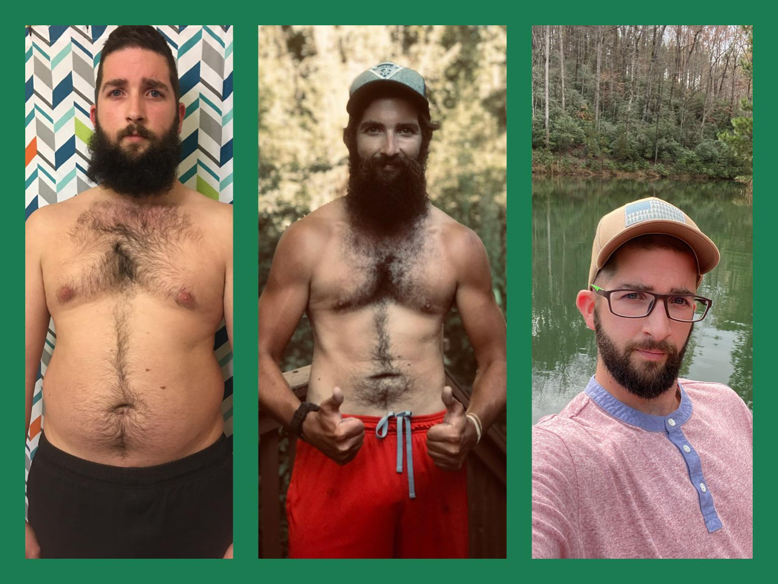 Before and After 73 lbs Weight Loss 5 foot 10 Male 220 lbs to 147 lbs