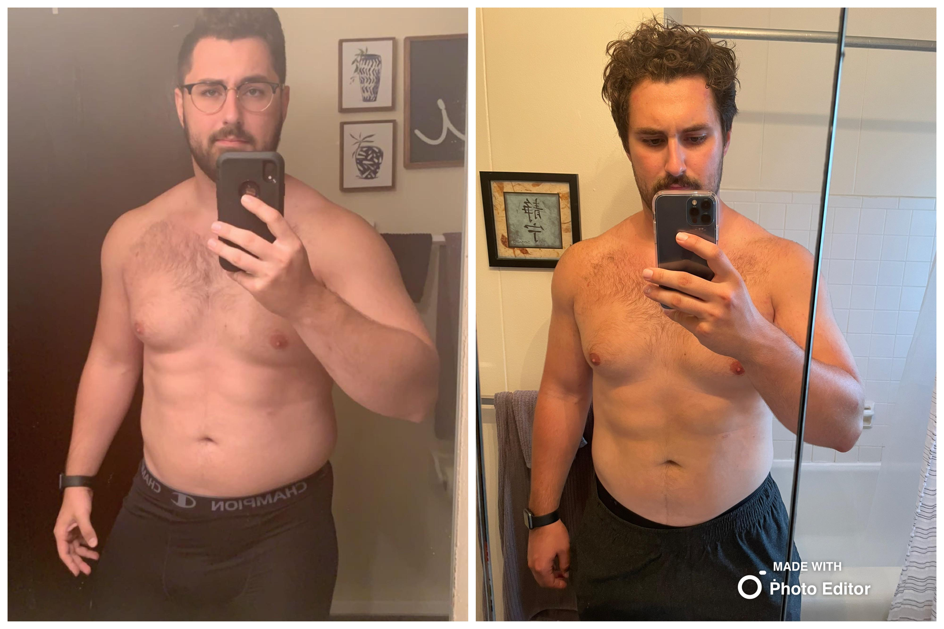 6 foot 1 Male Before and After 32 lbs Weight Loss 285 lbs to 253 lbs