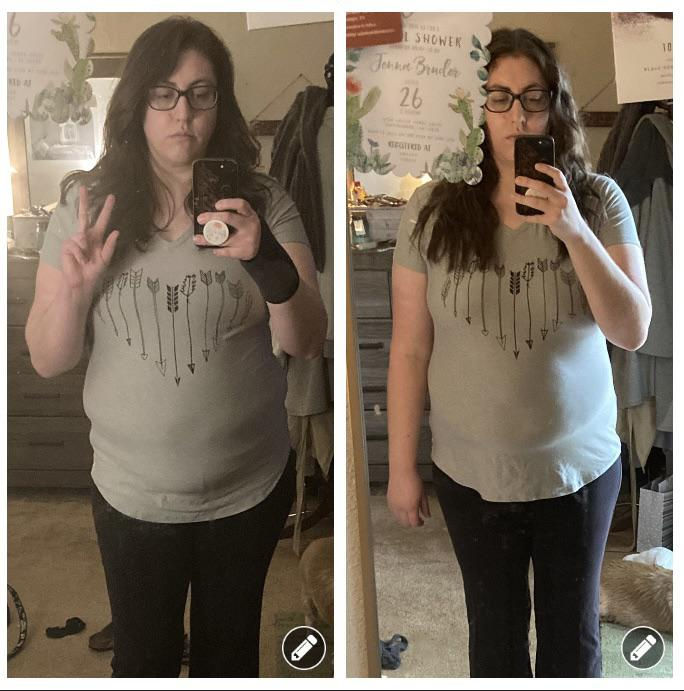 5 feet 7 Female Before and After 8 lbs Fat Loss 206 lbs to 198 lbs