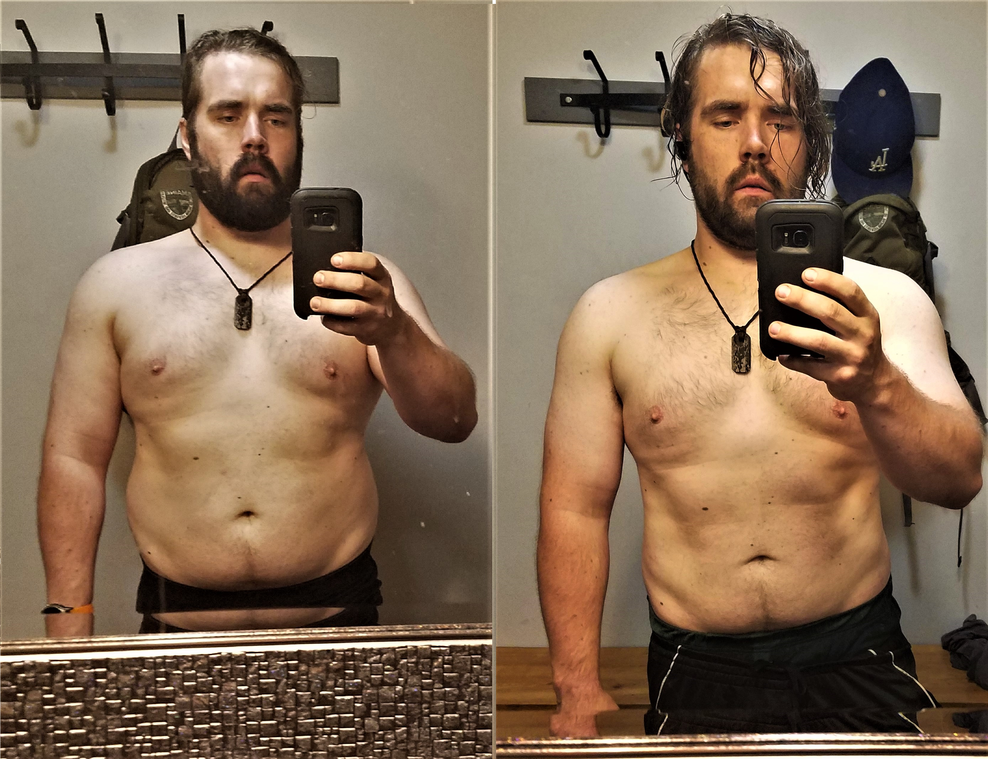 5 feet 11 Male Before and After 20 lbs Weight Loss 265 lbs to 245 lbs