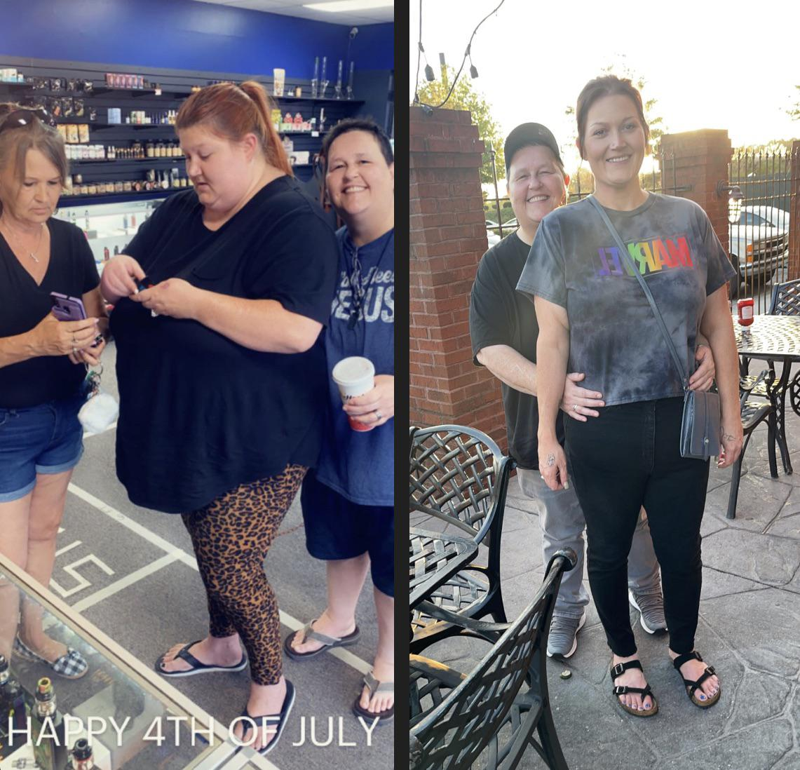 Before and After 216 lbs Fat Loss 5 foot 9 Female 401 lbs to 185 lbs