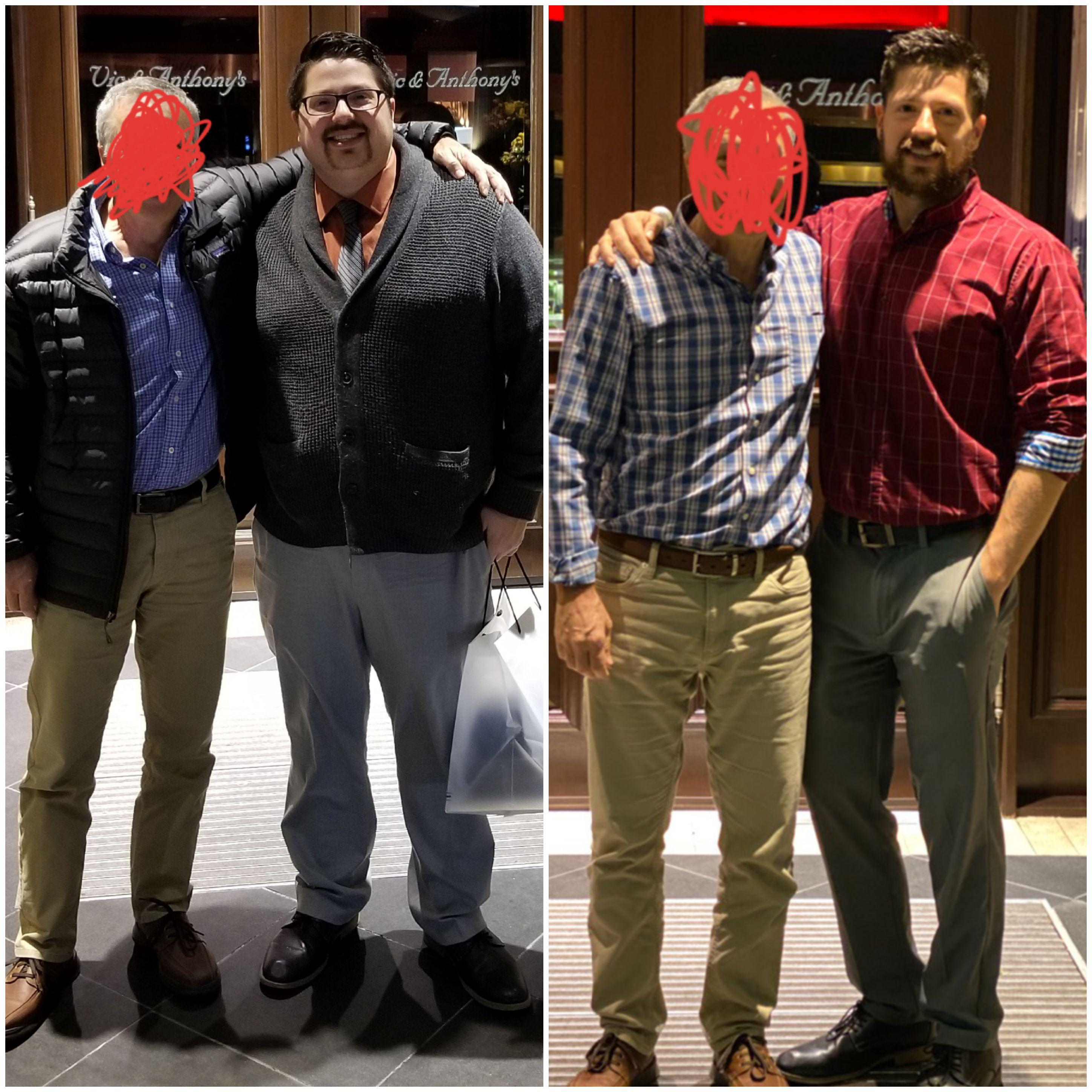 100 lbs Weight Loss Before and After 5 feet 10 Male 275 lbs to 175 lbs