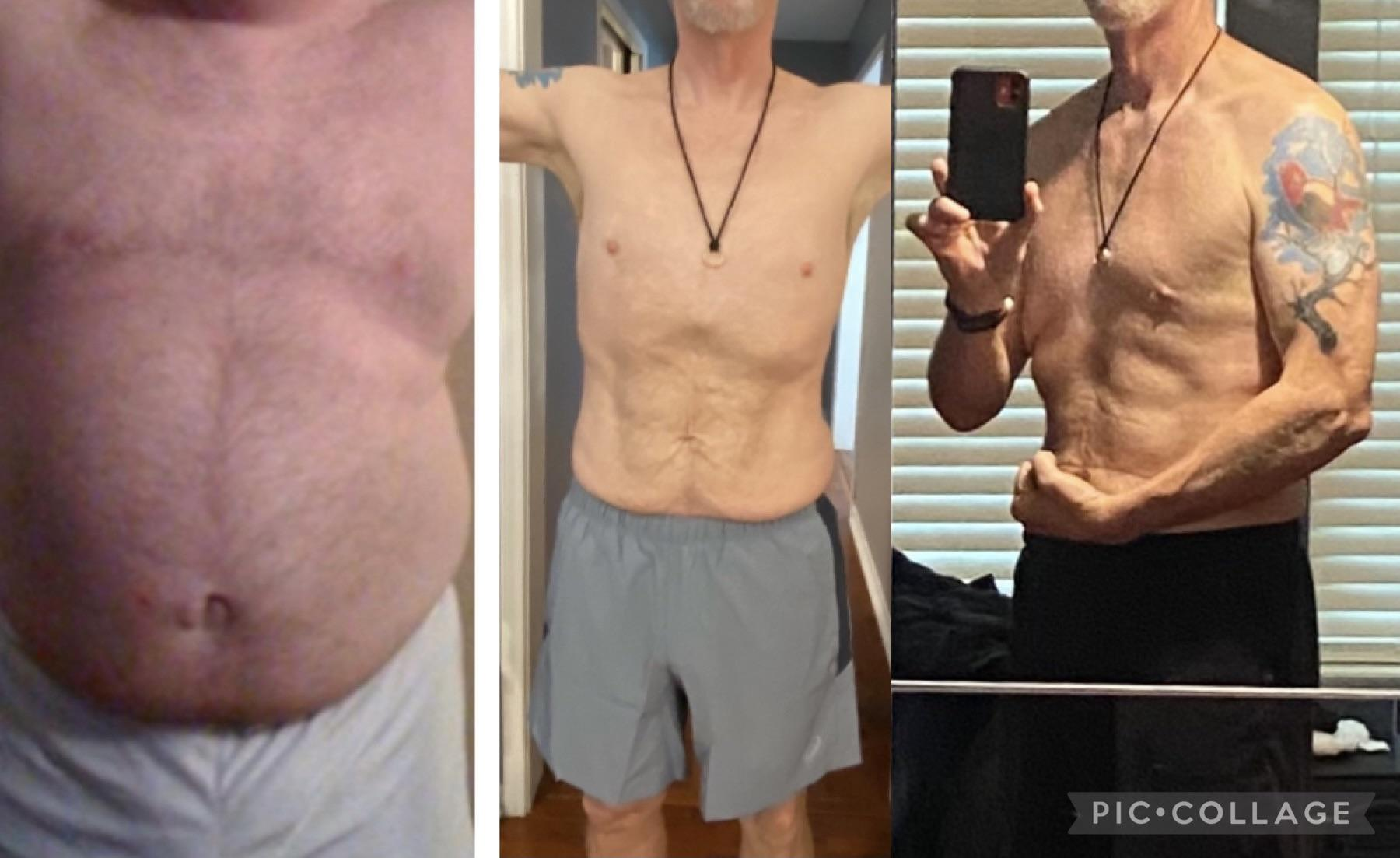Before and After 126 lbs Fat Loss 5 feet 11 Male 300 lbs to 174 lbs