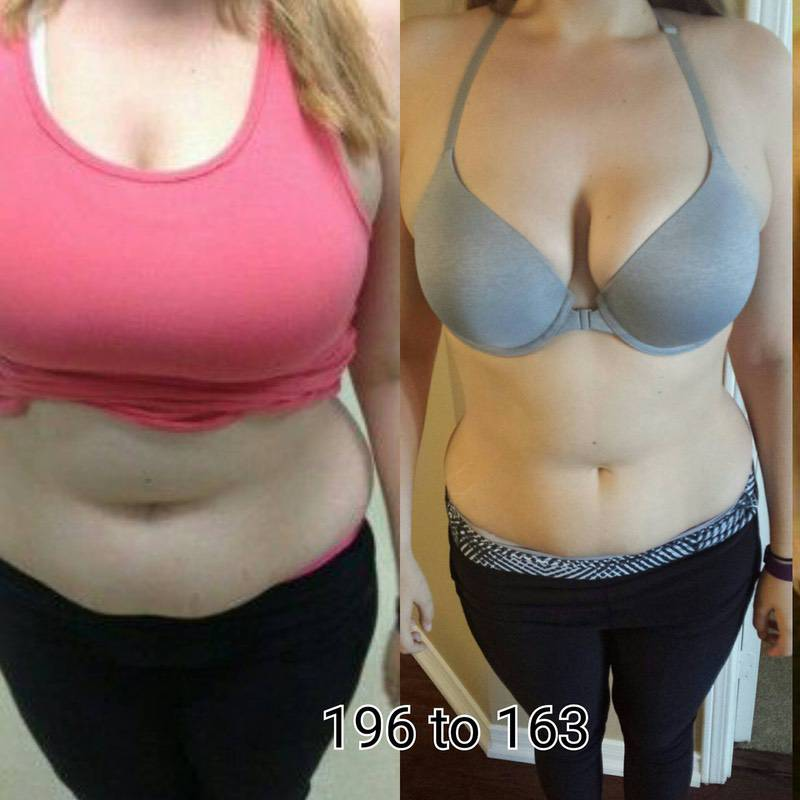 Before and After 33 lbs Fat Loss 5 foot 8 Female 196 lbs to 163 lbs