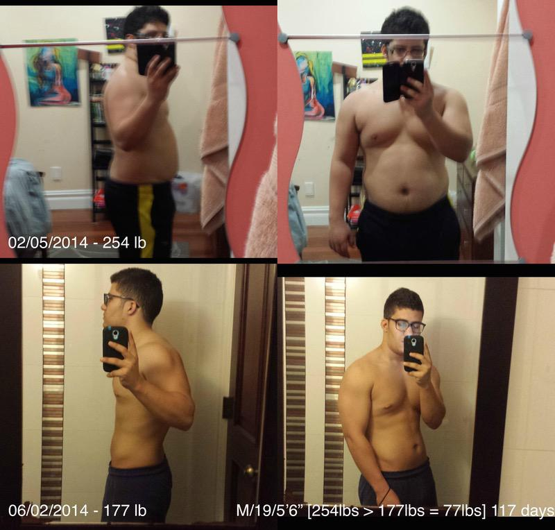 5 feet 6 Male Before and After 77 lbs Weight Loss 254 lbs to 177 lbs