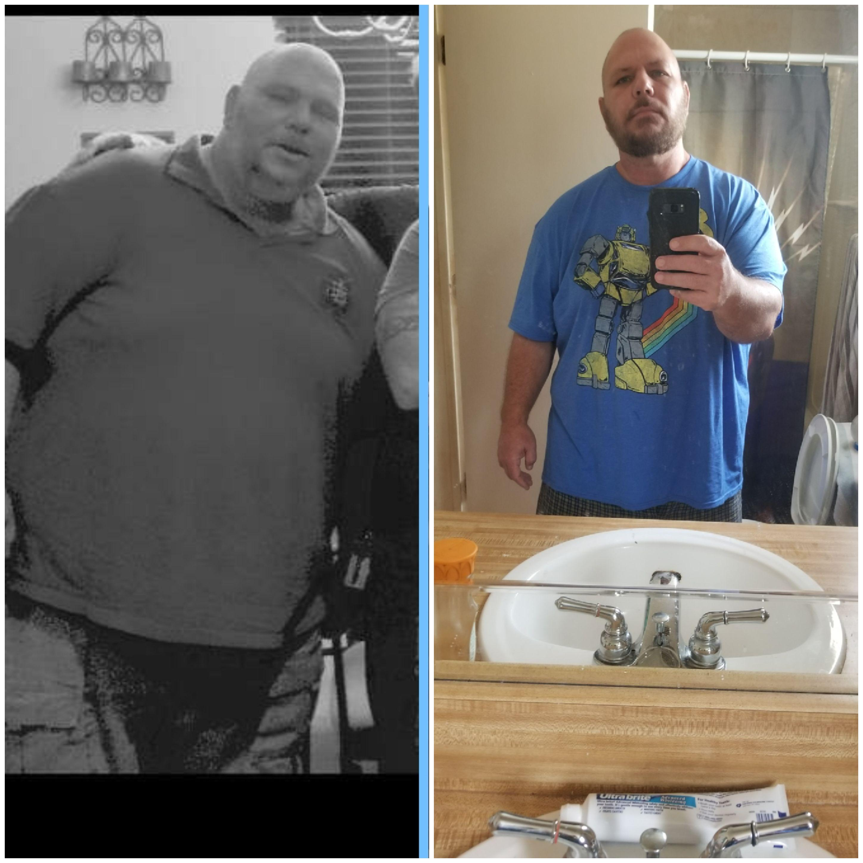 Before and After 140 lbs Weight Loss 5 feet 7 Male 410 lbs to 270 lbs