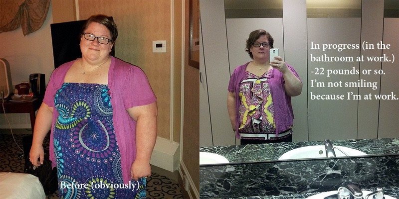 Before and After 21 lbs Weight Loss 5'2 Female 306 lbs to 285 lbs