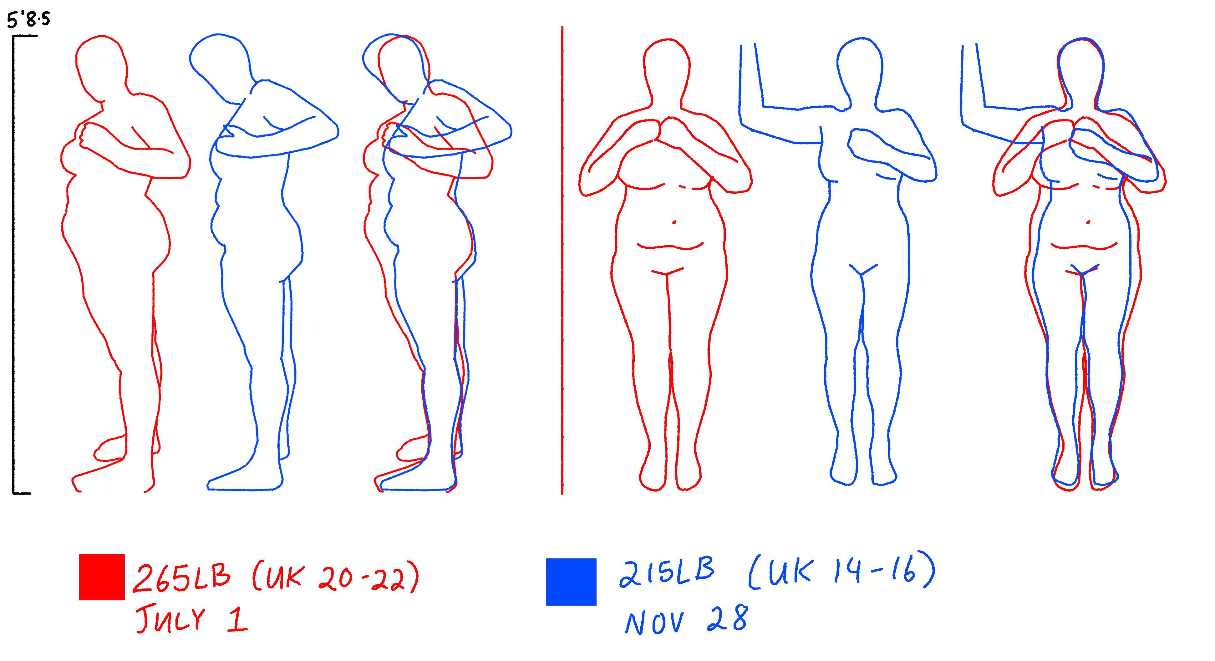 50 lbs Weight Loss 5 feet 8 Female 265 lbs to 215 lbs