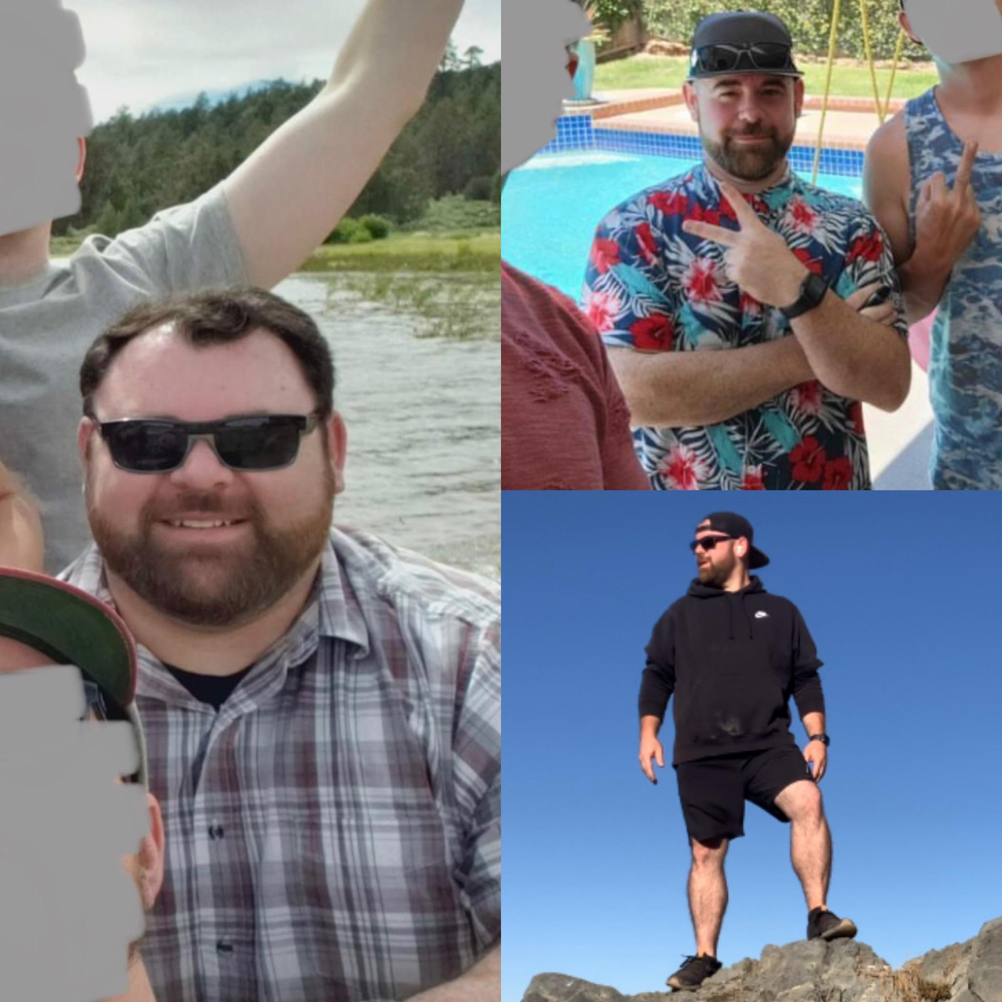 Before and After 91 lbs Fat Loss 5 foot 8 Male 308 lbs to 217 lbs