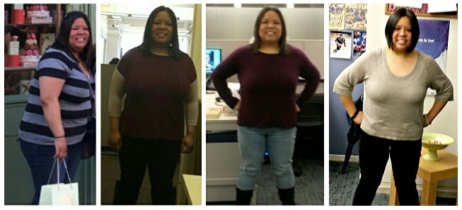 Before and After 60 lbs Weight Loss 5 foot Female 233 lbs to 173 lbs