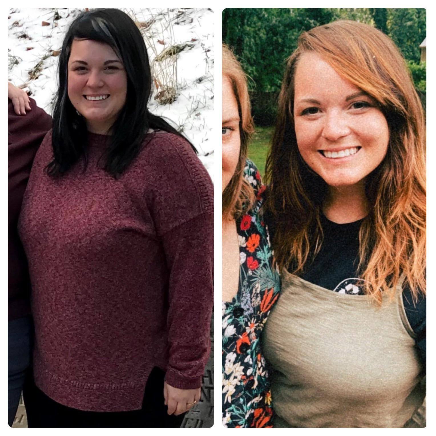 5 foot 6 Female Before and After 52 lbs Weight Loss 251 lbs to 199 lbs