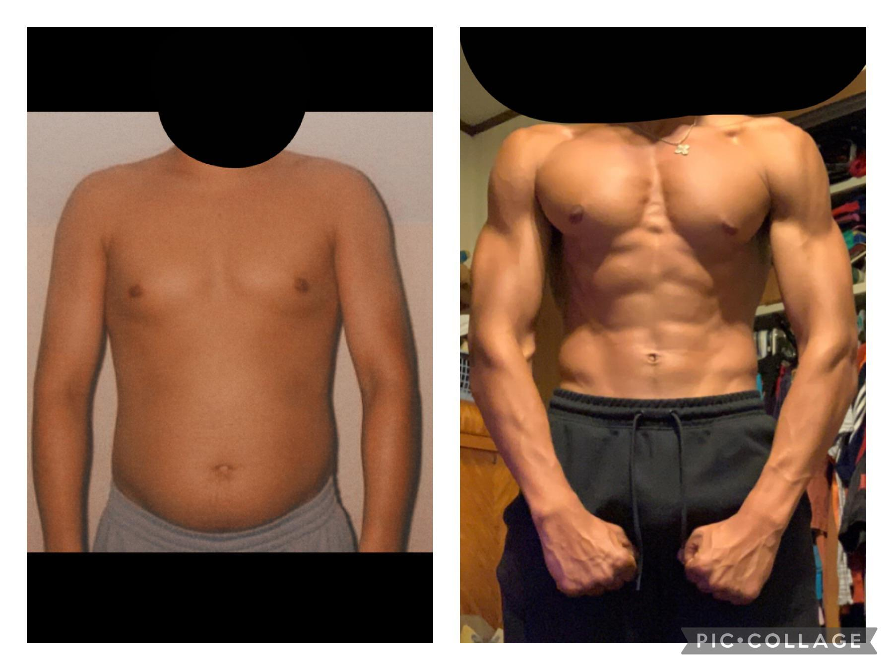 6 foot 1 Male 30 lbs Muscle Gain Before and After 160 lbs to 190 lbs