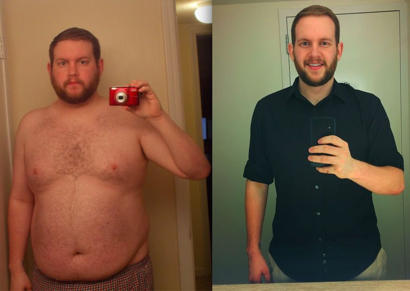 6 feet 1 Male Before and After 80 lbs Fat Loss 300 lbs to 220 lbs