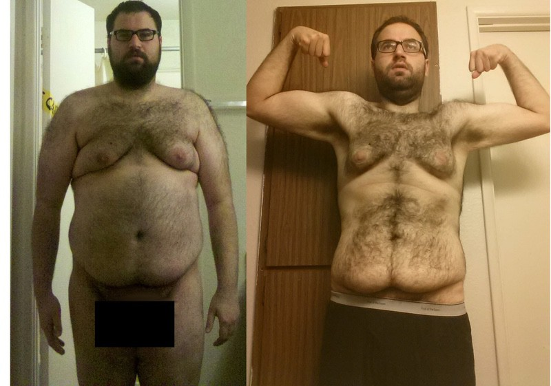 Before and After 84 lbs Fat Loss 6 foot 3 Male 294 lbs to 210 lbs