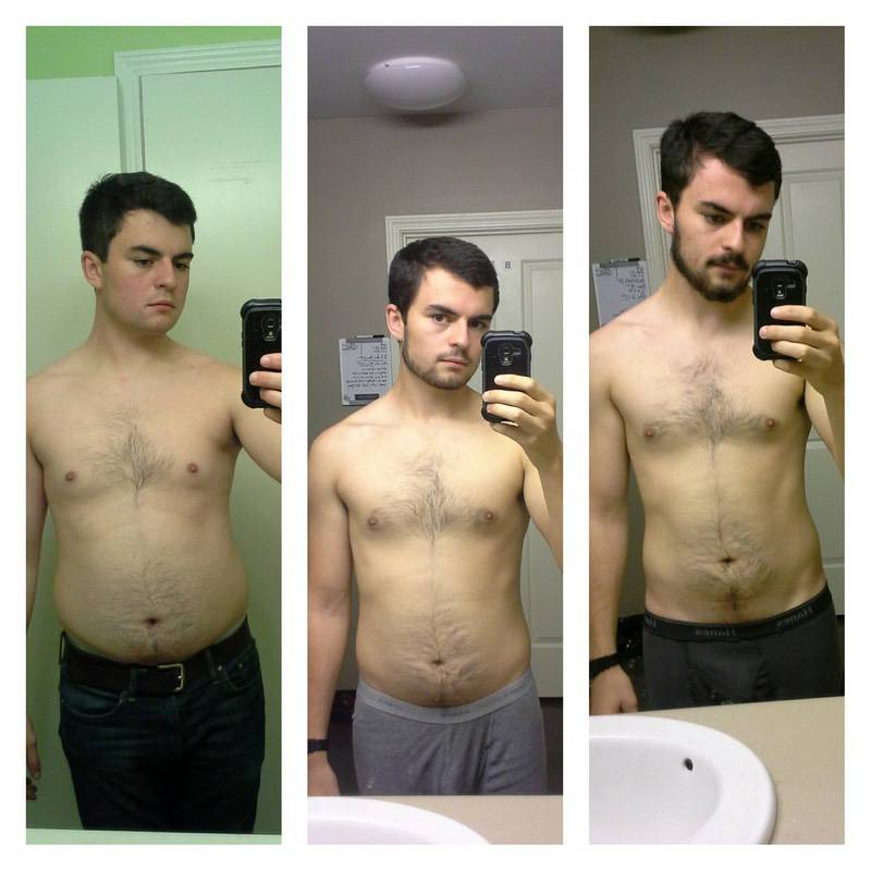 Before and After 25 lbs Fat Loss 5'9 Male 175 lbs to 150 lbs