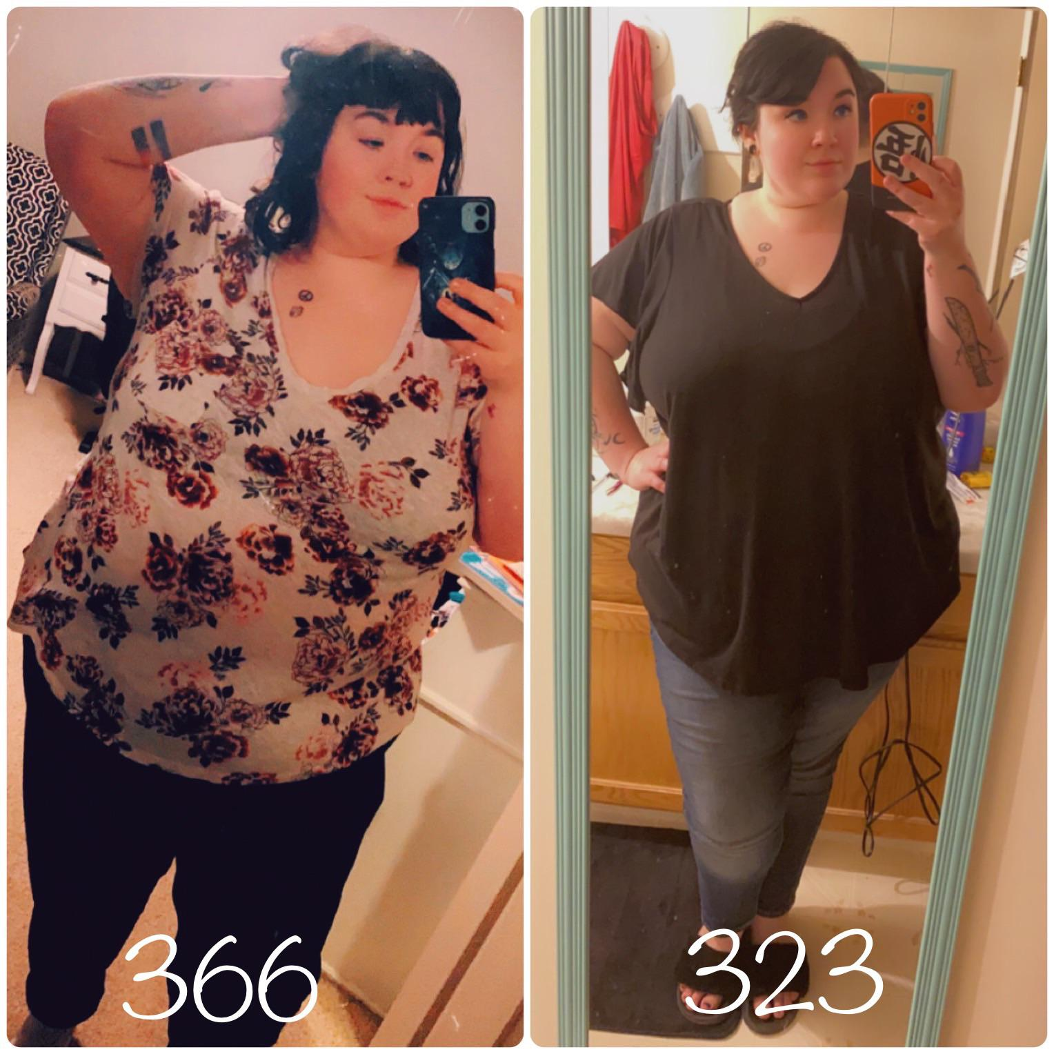 5'7 Female 43 lbs Fat Loss Before and After 366 lbs to 323 lbs