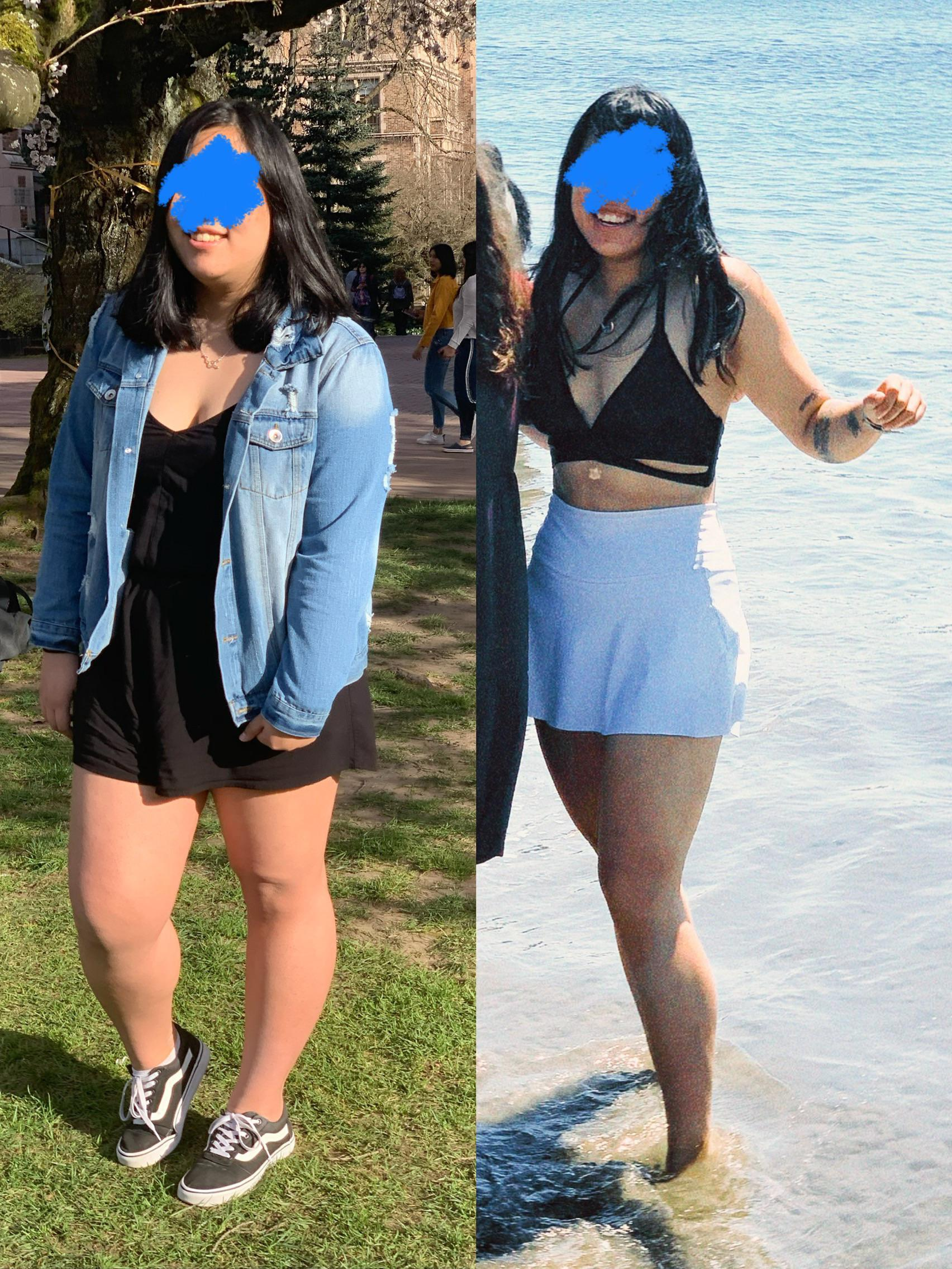 5 foot 7 Female Before and After 57 lbs Fat Loss 219 lbs to 162 lbs