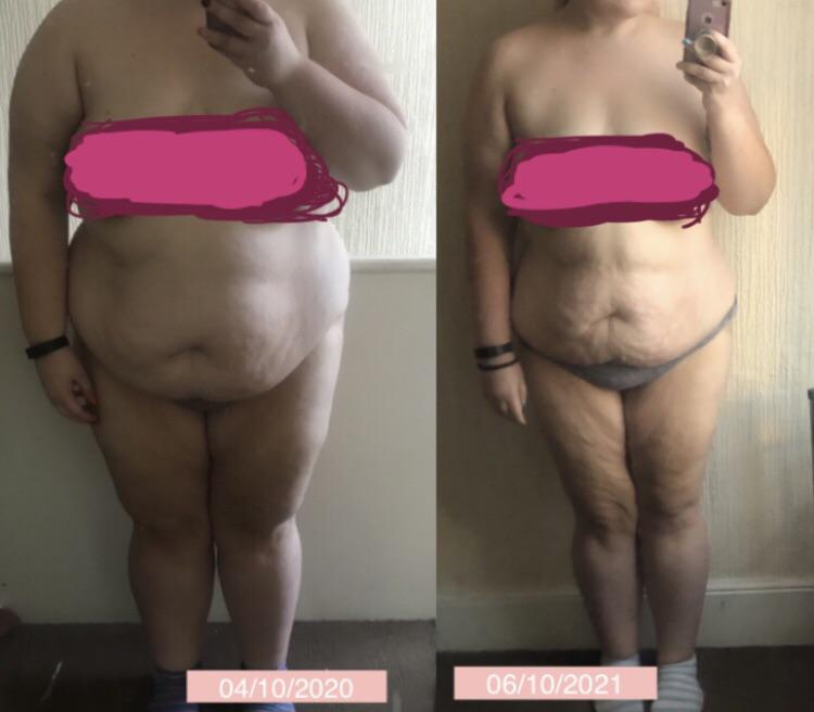 Before and After 112 lbs Weight Loss 5'5 Female 347 lbs to 235 lbs