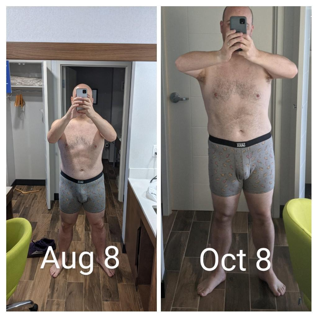 15 lbs Weight Loss Before and After 5 foot 9 Male 230 lbs to 215 lbs