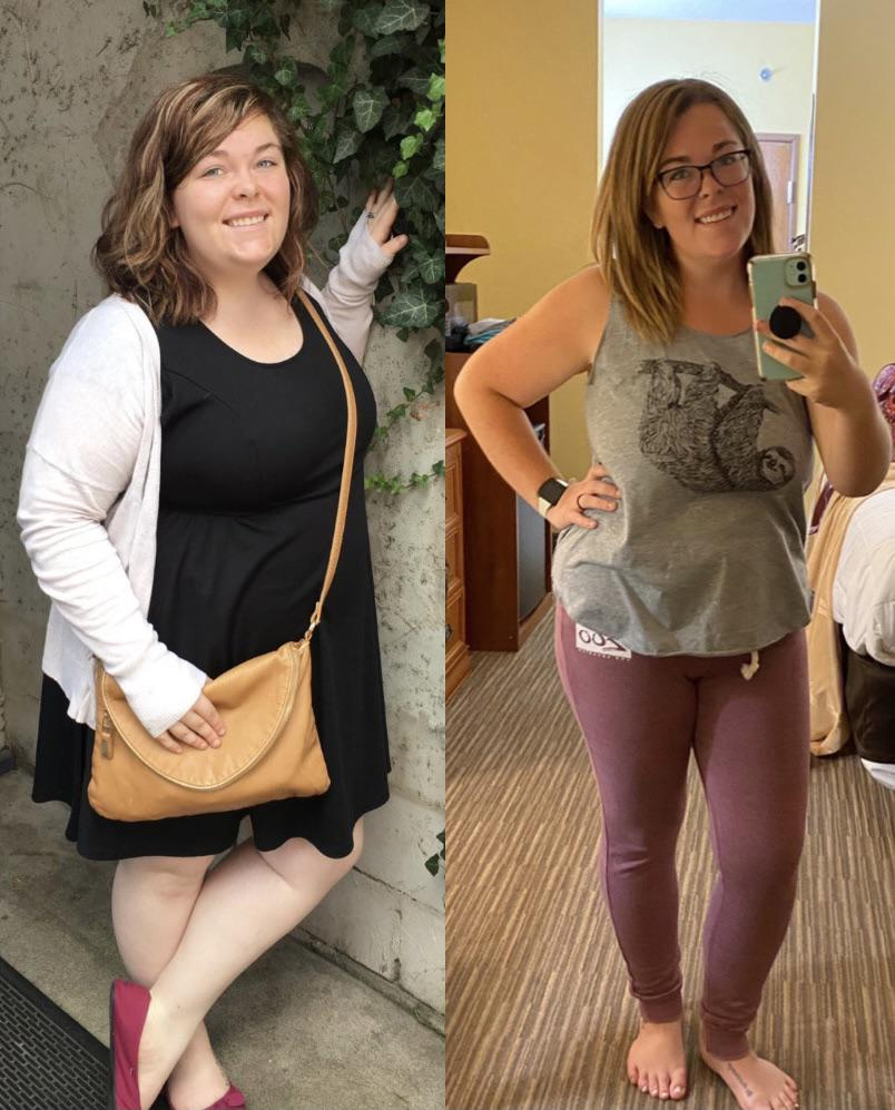 Before and After 70 lbs Fat Loss 5'3 Female 252 lbs to 182 lbs