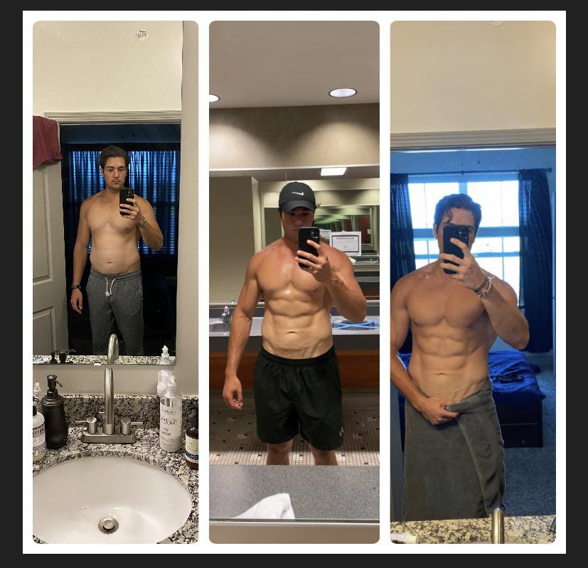 6 feet 2 Male Before and After 25 lbs Fat Loss 220 lbs to 195 lbs