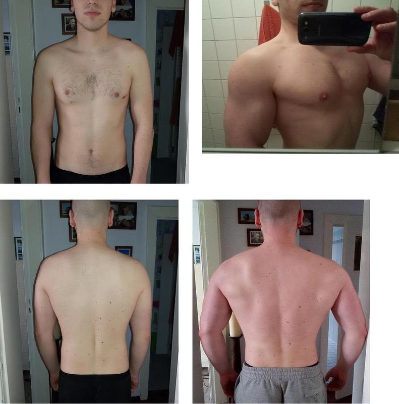 Before and After 33 lbs Weight Gain 5 feet 11 Male 161 lbs to 194 lbs