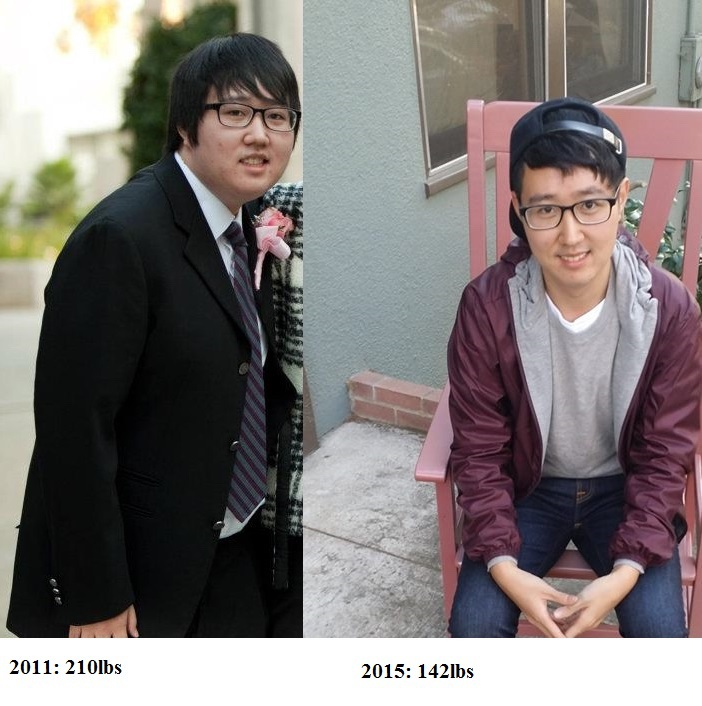 5 foot Male 68 lbs Fat Loss Before and After 210 lbs to 142 lbs