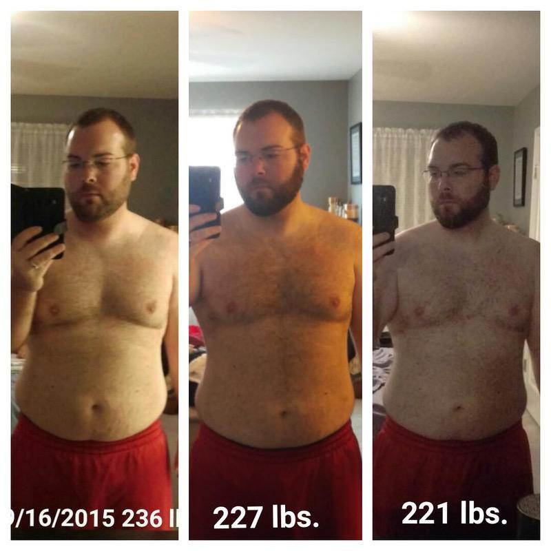 Progress Pics of 15 lbs Fat Loss 5 foot 8 Male 236 lbs to 221 lbs