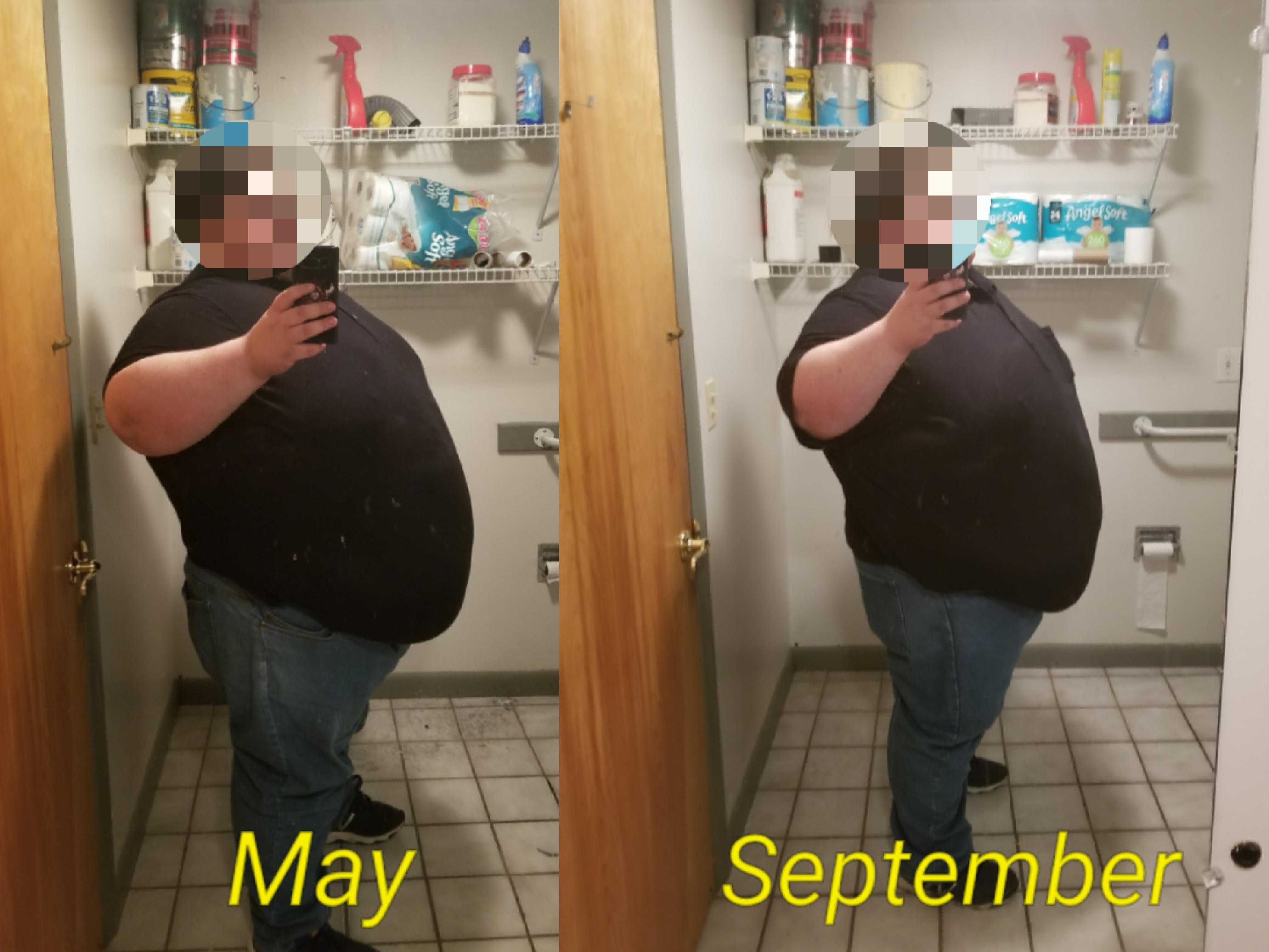 Before and After 50 lbs Fat Loss 5 foot 11 Male 605 lbs to 555 lbs