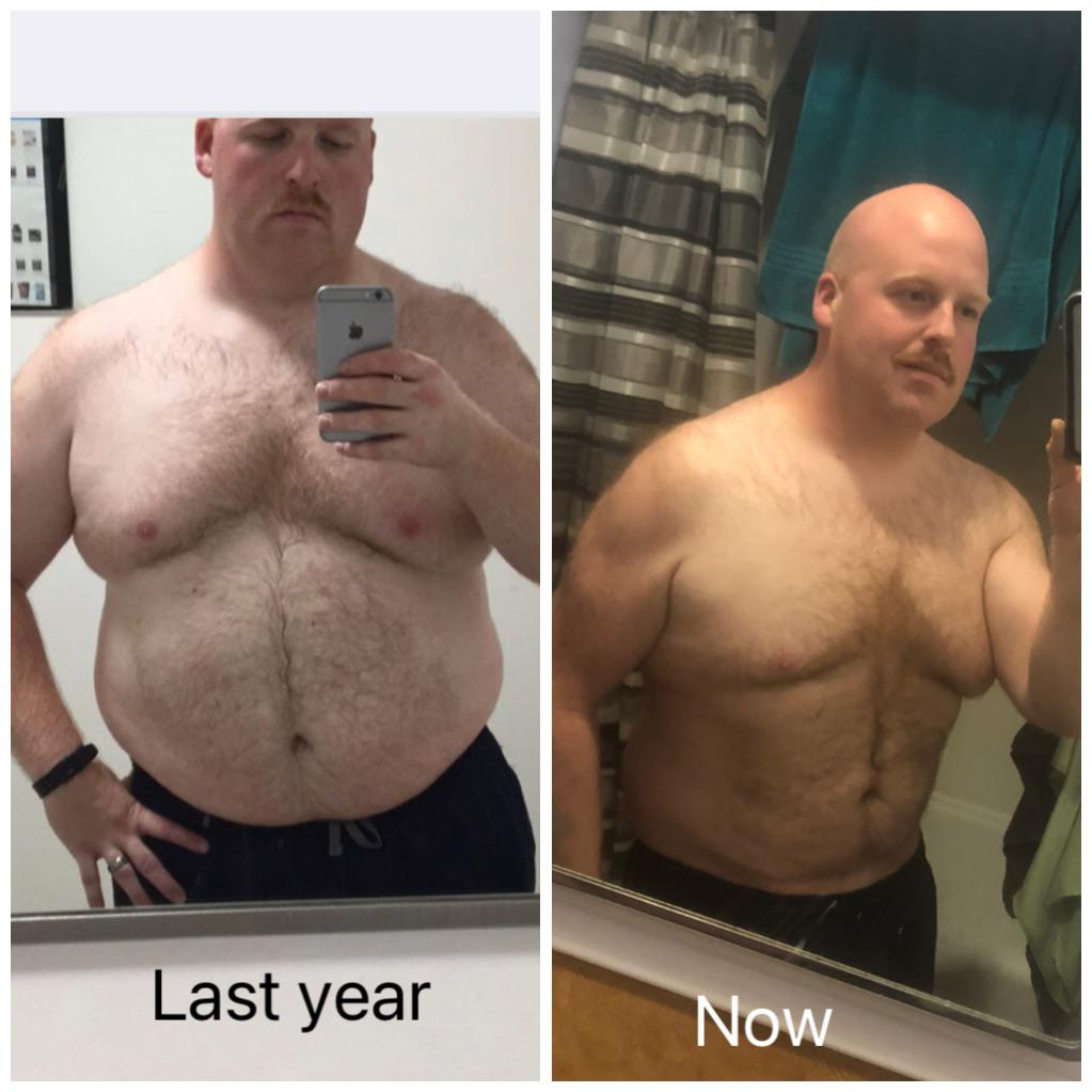 55 lbs Fat Loss Before and After 5'10 Male 300 lbs to 245 lbs