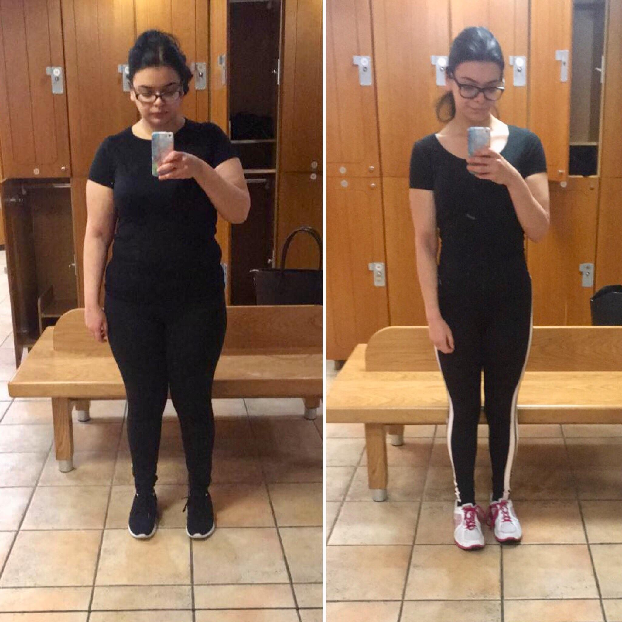 Before and After 70 lbs Weight Loss 5'3 Female 196 lbs to 126 lbs