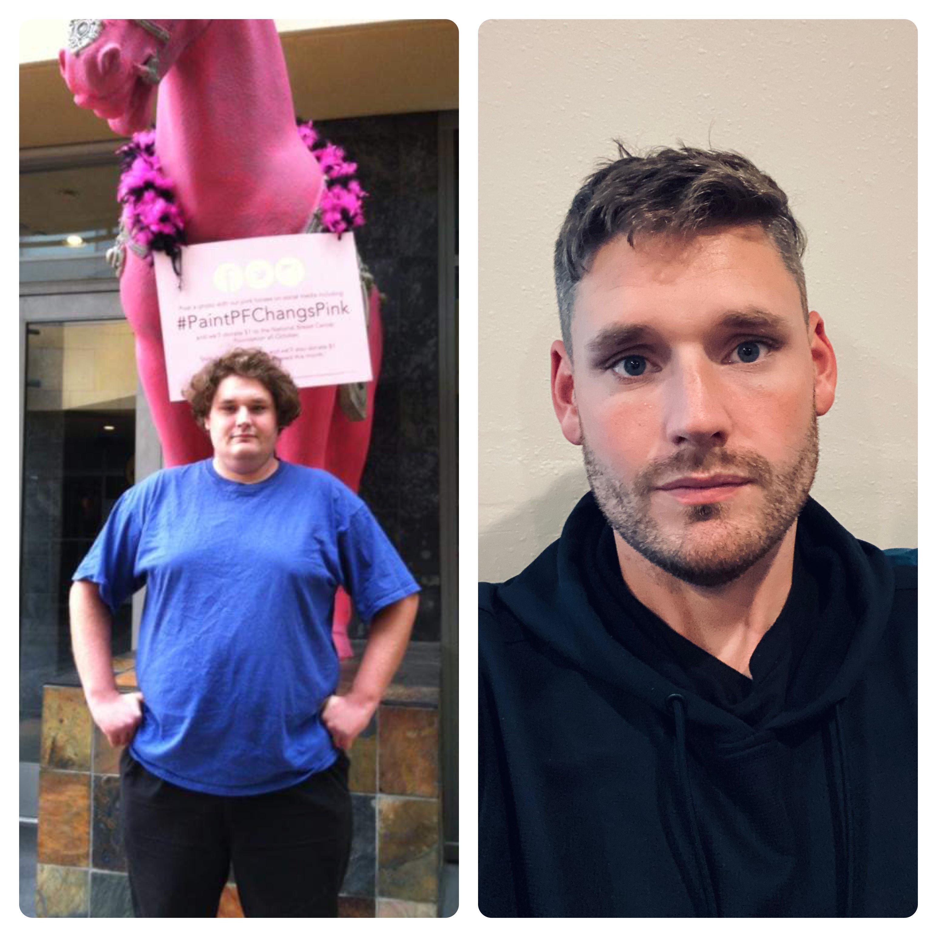 6 feet 5 Male Before and After 200 lbs Fat Loss 340 lbs to 140 lbs