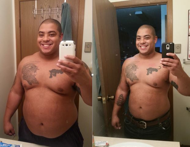 40 lbs Fat Loss Before and After 5 feet 8 Male 300 lbs to 260 lbs