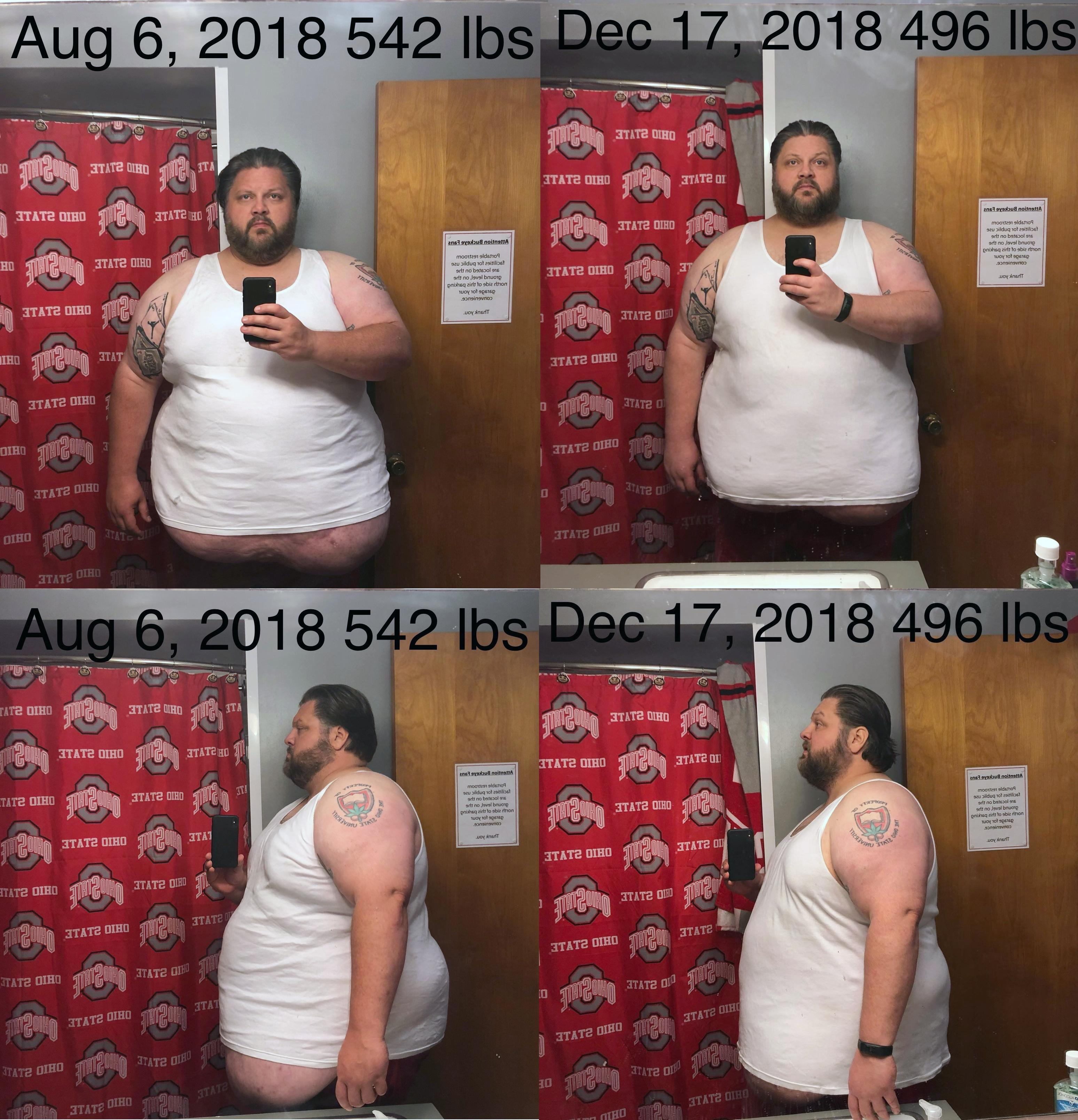 Before and After 46 lbs Weight Loss 6'1 Male 542 lbs to 496 lbs