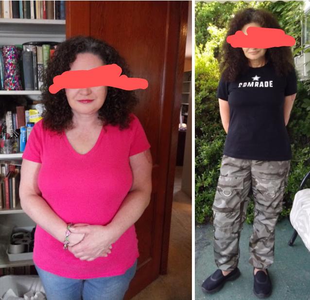 Progress Pics of 45 lbs Fat Loss 5 foot 1 Female 180 lbs to 135 lbs