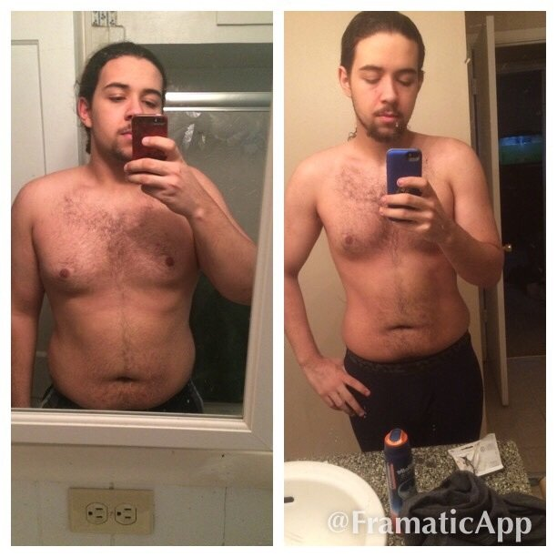 Before and After 35 lbs Fat Loss 5 feet 11 Male 212 lbs to 177 lbs