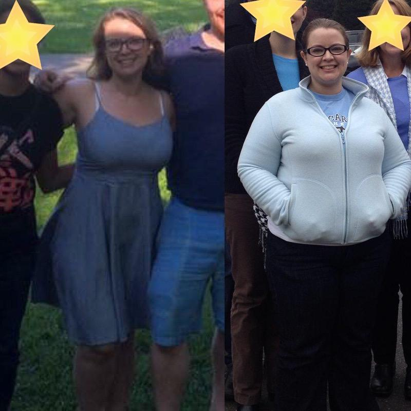 55 lbs Fat Loss Before and After 5'1 Female 215 lbs to 160 lbs