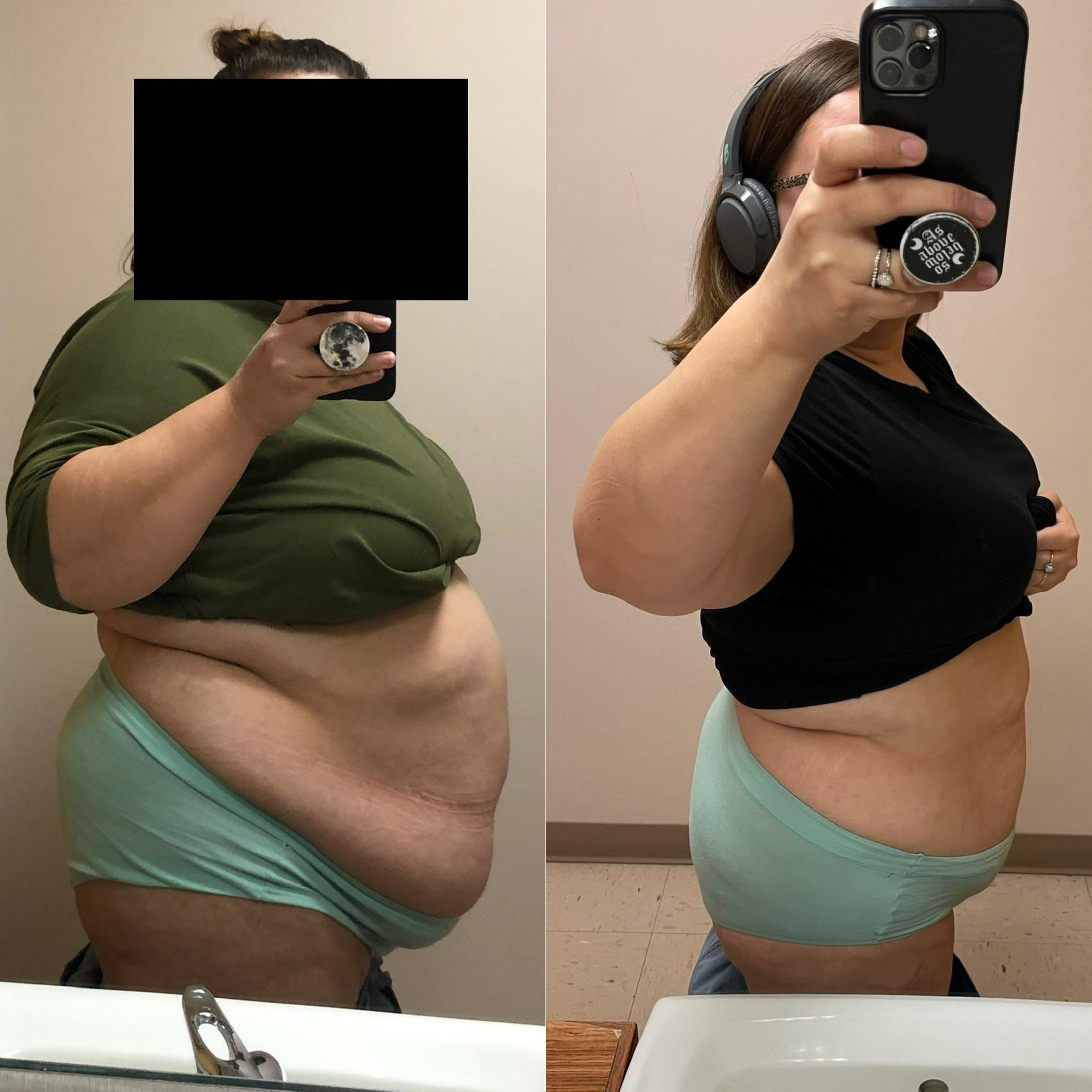 5 feet 3 Female 60 lbs Fat Loss Before and After 270 lbs to 210 lbs
