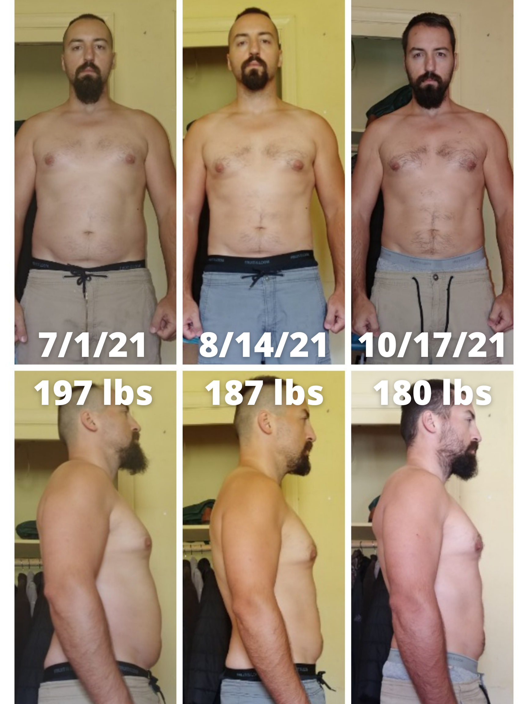 5 feet 9 Male 17 lbs Weight Loss Before and After 197 lbs to 180 lbs