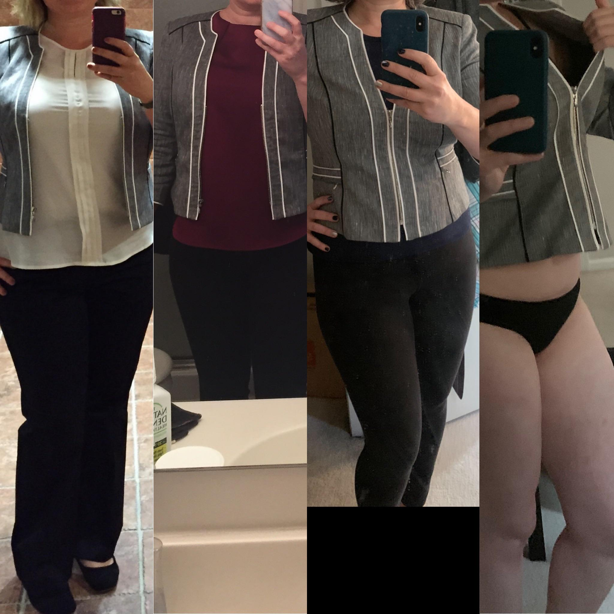 5 foot 8 Female 50 lbs Weight Loss Before and After 220 lbs to 170 lbs