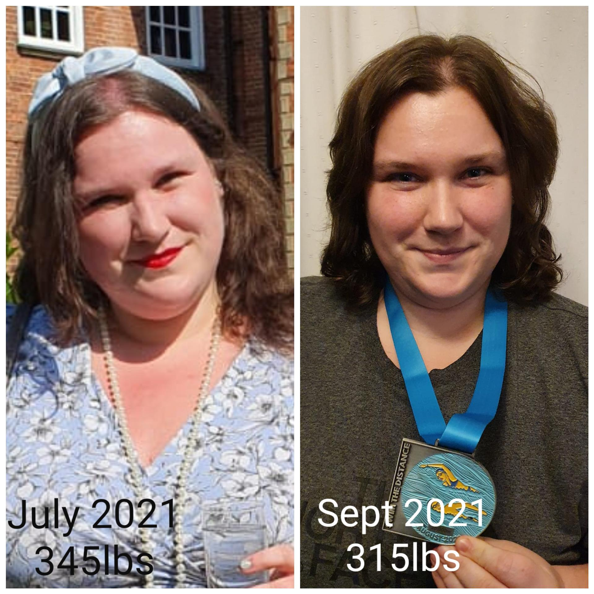 30 lbs Fat Loss Before and After 5 feet 8 Female 345 lbs to 315 lbs