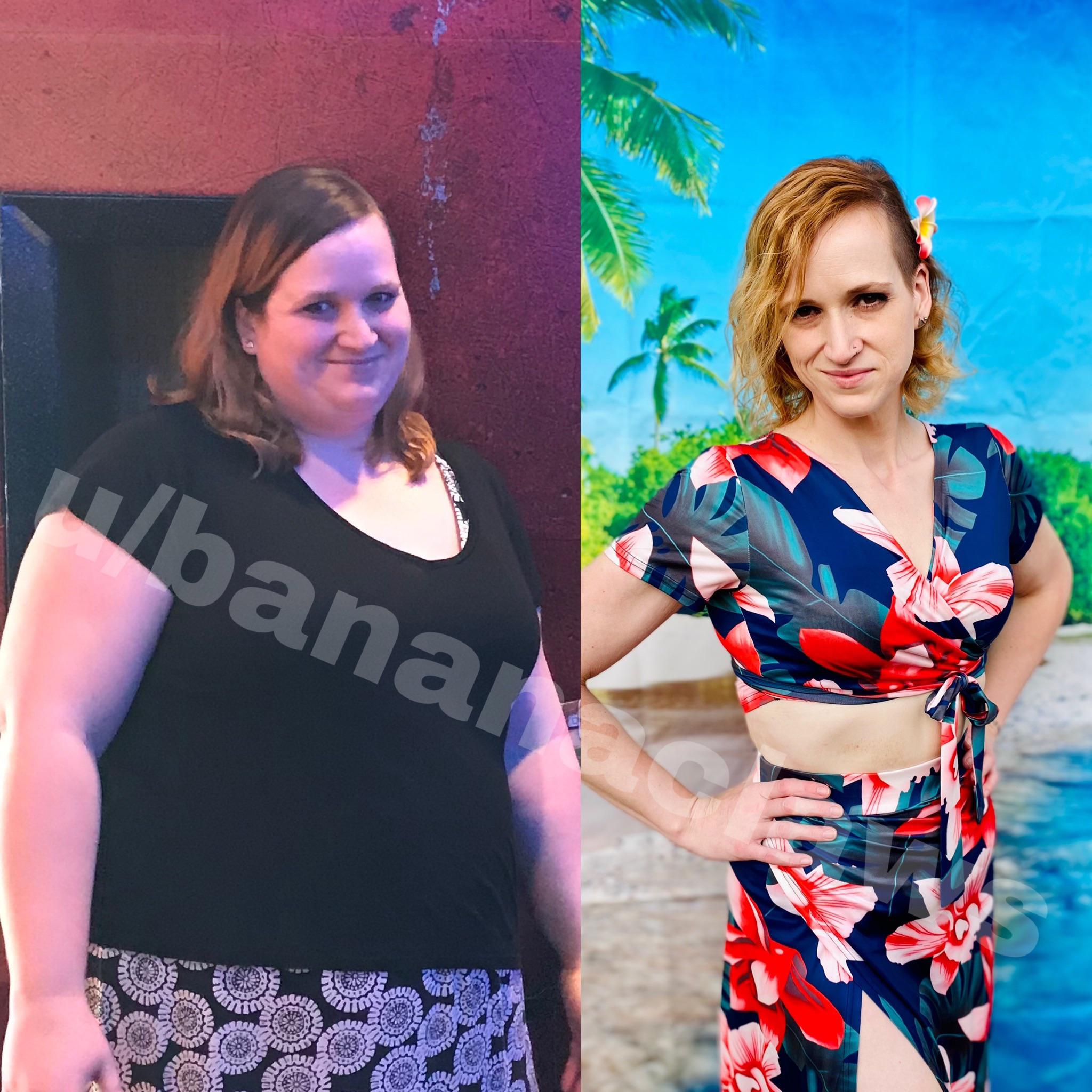 207 lbs Fat Loss Before and After 6 foot Female 370 lbs to 163 lbs