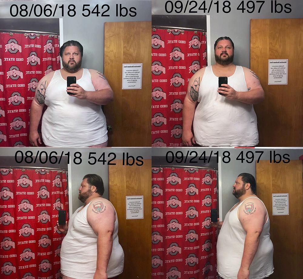 Before and After 45 lbs Fat Loss 6 foot 1 Male 542 lbs to 497 lbs
