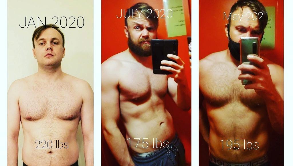 25 lbs Weight Loss 6 foot Male 220 lbs to 195 lbs