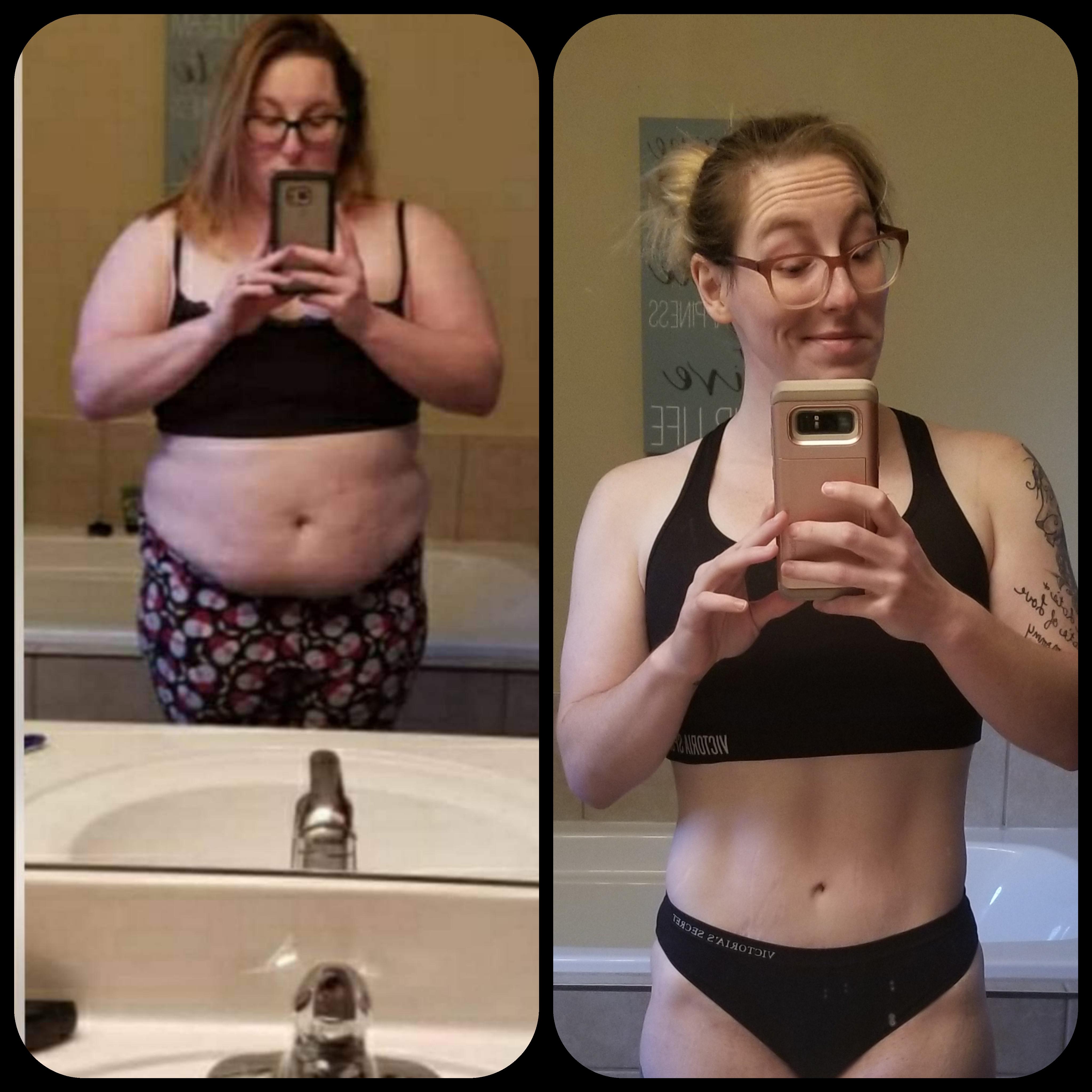 Progress Pics of 112 lbs Weight Loss 5 foot Female 245 lbs to 133 lbs