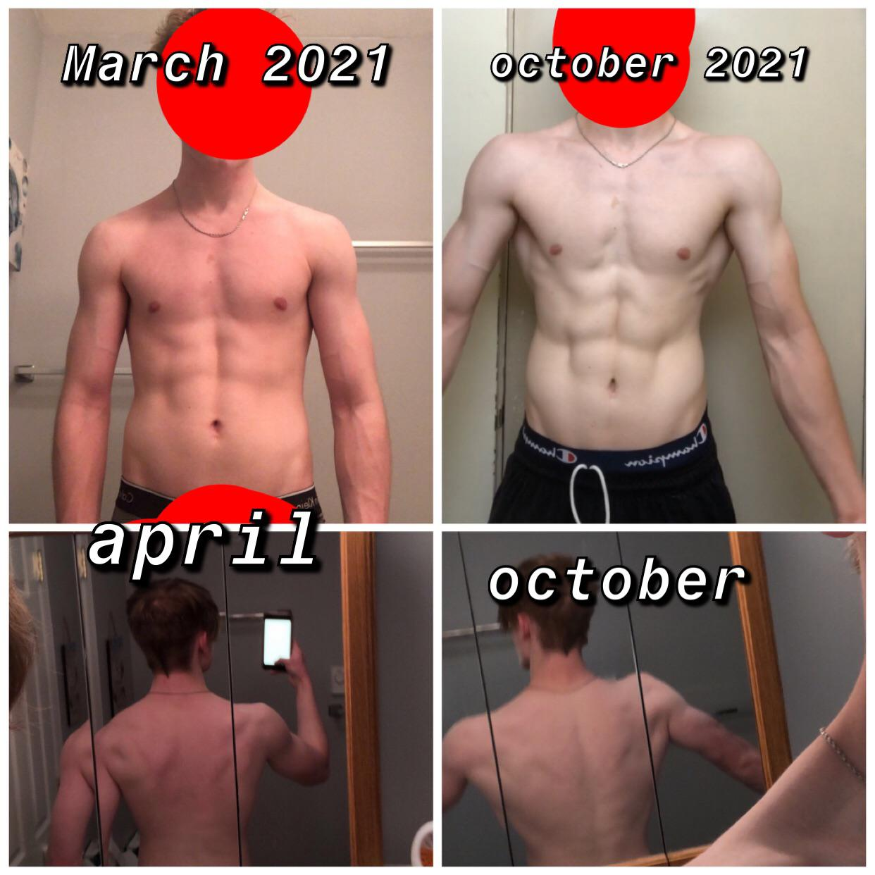 Before and After 5 lbs Weight Gain 5'10 Male 140 lbs to 145 lbs