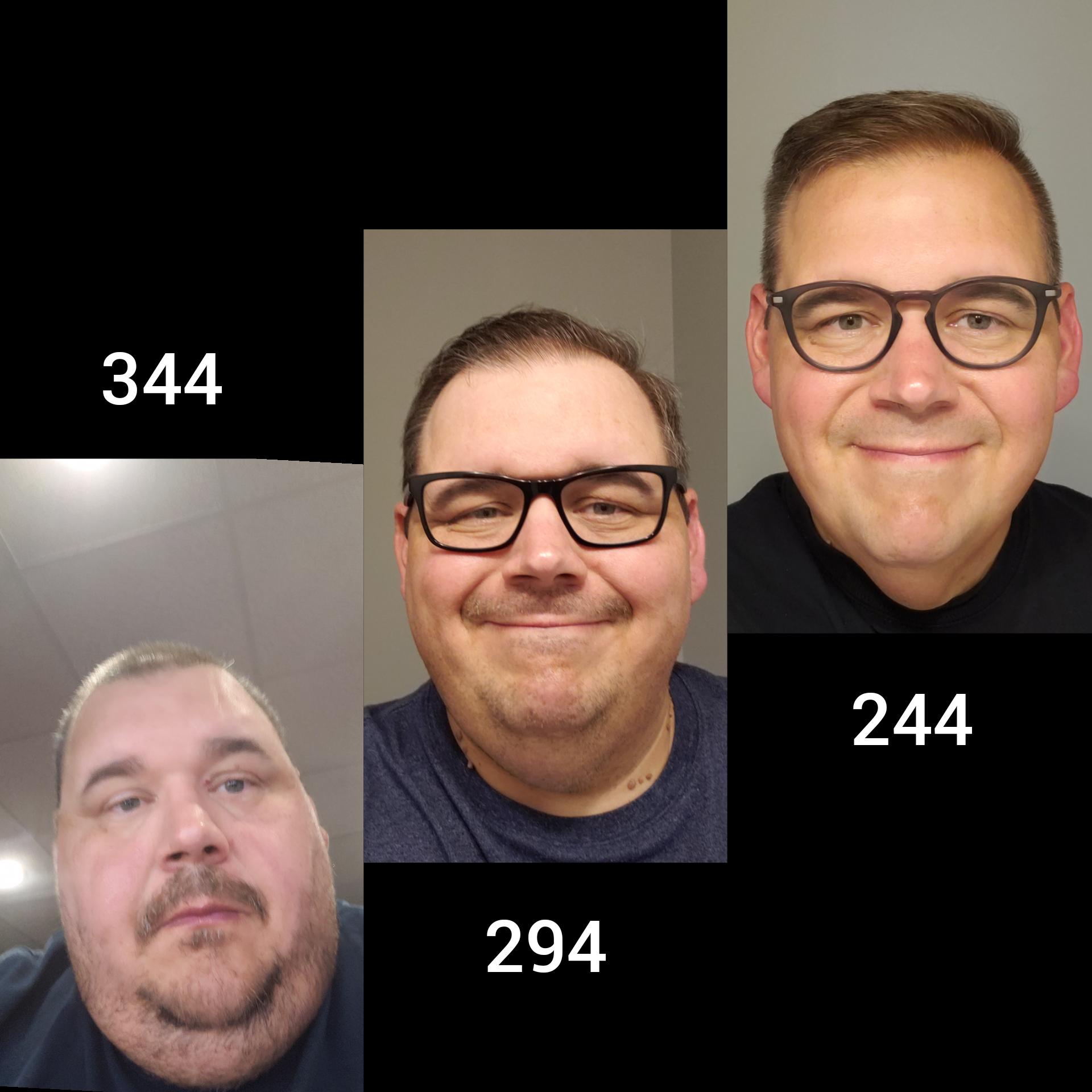Progress Pics of 100 lbs Fat Loss 5'10 Male 344 lbs to 244 lbs